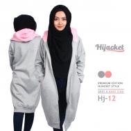 Kado Terbaik untuk Wanita Hijabers Jaket Hijab, Hijacket Grey x Baby Pink [HJ12]