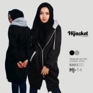 Jaket Cewek Trend Model Terbaru 2017 Jaket Hijab, Hijacket Black x Grey [HJ14]