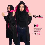 Kado untuk Wanita Hijabers Jaket Hijab, Hijacket Black x Pink [HJ16]
