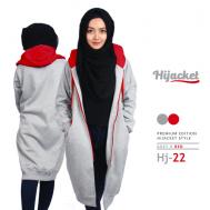 Kado untuk Cewek Muslimah Jaket Hijab, Hijacket Grey x Red [HJ22]