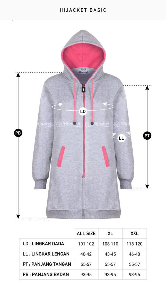 SIZE CHART atau Ukuran Jaket Muslimah Original Allsize, XL dan XXL